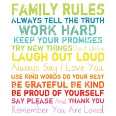 Family Rules Sign.