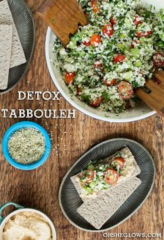 Detox recipes: Grain Free Tabbouleh that substitutes chopped cauliflower for bulgur.