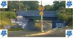"To bring attention to Child Abuse Prevention the famous ""Graffiti Bridge"" on 17th Avenue in Pensacola was painted blue for the area's ""From Blue to Better"" child abuse prevention campaign  #pinwheelsforprevention"