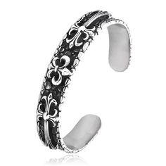 Antique Cool Men's Titanium Gothic Crow Heart Cross Cuff Bracelet $169.00 http://www.zivpin.com