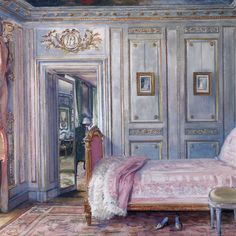 William Ranken's painting of de Wolfe's bedroom at Trianon, 1920s. Courtesy of Charlotte Moss. -Wmag