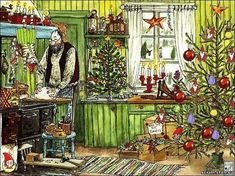 Pettson and Findus (bilderböcker) by Sven Nordqvist, Sweden Winter Illustration, Christmas Illustration, Illustration Art, Swedish Christmas, Christmas Art, Trolls, Chrismas Cards, Nordic Art, Christmas Pictures