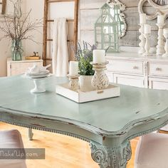 Dining Table with Duck Egg Blue Chalk Paint® by Annie Sloan Refurbished Furniture, Paint Furniture, Repurposed Furniture, Dining Room Furniture, Furniture Makeover, Furniture Slipcovers, Painted Dining Room Table, Dining Room Design, Dining Tables