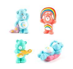 Care Bears Figurines Kawaii Kitsch Retro Rainbow Set of 4 Cute Toys / Vintage…