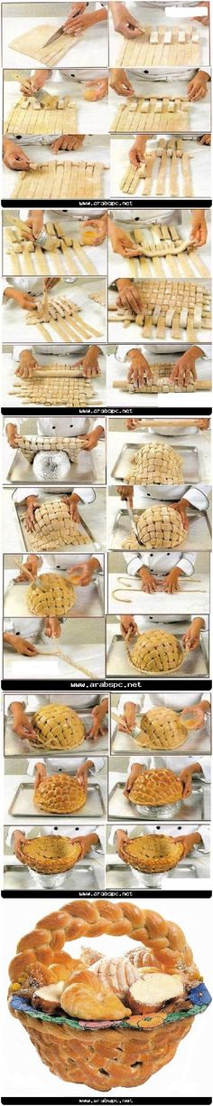 How To Make A Bread Basket Pictures. Try this with French bread dough? Bread Art, Bread Food, Bread Shaping, Good Food, Yummy Food, Bread And Pastries, Food Humor, Creative Food, Food And Drink