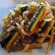 This zucchini and onion dish tastes just like hibachi.  Can add carrots & broccoli, too.