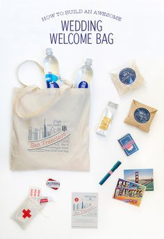 This would be cute as a welcome bag for any out-of-town guests | How To Build a Wedding Welcome Bag | Zazzle