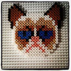 Grumpy Cat perler beads by jennohjenn - A UnleashtheGeek original design: https://www.etsy.com/listing/173920926/grumpy-cat-perler-bead-sprite-an