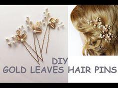 Easy DIY Bridal Gold Leaves Hair Vine Pins Bridal Hair Tutorial Hair Vine, Wire beads - YouTube