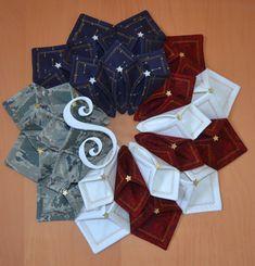 Patriotic fold'n stitch wreath