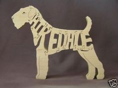 Airedale Dog Wooden Amish Made Toy Scroll Saw Puzzle