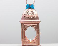 Rose Gold Effect Moroccan Lantern/ Unique Vintage Arabic Candle Holder/ Pink Gold Wedding Lanterns/ Moroccan decor/ Metal Candle Holder