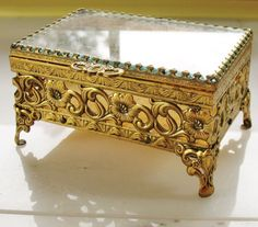VTG MATSON Rectangle Beveled Glass & Ornate Ormolu Casket Trinket Jewelry Box #Unbranded