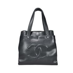 Chanel Ultimate Executive Tote Bag crafted in a black caviar leather and designed with diamond quilt stitch on sides and top of bag. Features signature 'CC' logo sewn on front and magnetic button snap closure. Interior is lined in fabric and has key ring holder,  2 slip pockets and 1 zippered pocket. Exterior has 4 slip pockets. Please note that there are light scratches on front and faint scuffs on base.  | Measurements: 34cm (length) x 32cm (height) x 11.5cm (depth) | Comes with pouch…
