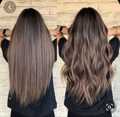 Ombre Hair, Brown Hair Balayage, Brown Hair With Highlights, Brown Hair Colors, Ashy Brown Hair, Highlights With Lowlights, Balayage On Straight Hair, Long Hair Colors, Hair Colour Ideas