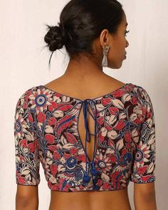 Buy Multicoloured Indie Picks Kalamkari Print Cotton Blouse | AJIO