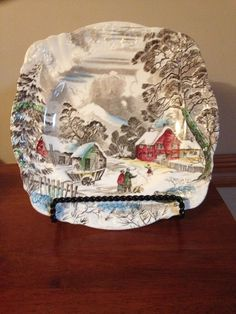 "J & G MEAKIN WELCOME HOME SQUARE LUNCHEON SALAD PLATE 8.75""  CHRISTMAS - EUC #JGMeakin"