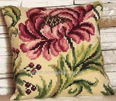 Buy Rose Sauvage à Droite Cushion Front Chunky Cross Stitch Kit Online at www.sewandso.co.uk