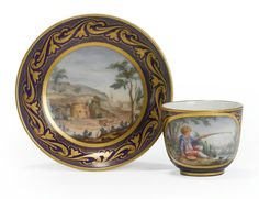 A SEVRES BLEU NOUVEAU-GROUND CUP AND SAUCER 1775.