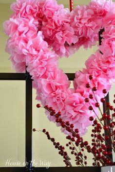 Valentine craft-Tissue Paper Valentine's Day Heart Wreath