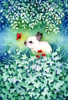 Wildlife Art 8x12 Print Bunny with Red Butterfly. $14.50, via Etsy.