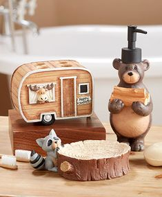Bring a touch of the great outdoors into your home with this Woodsy Camper Bathroom Collection. It features whimsical artwork of woodland animals going camping. Rustic Bathroom Decor, Bathroom Signs, Bathroom Ideas, Rustic Bathrooms, Bathroom Remodeling, Modern Bathroom, Small Bathroom, Camper Bathroom, Bathroom Storage