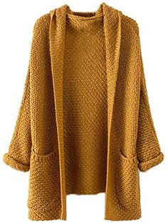 Milumia Womens Pockets Chunky Knit Open Front Cardigan Sweater Coat S  US 4 Khaki * You can find out more details at the link of the image. (This is an affiliate link)
