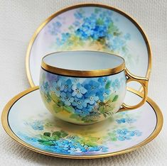 Tea 3 Antique Saucers 1186 set No. 2 Coffee Sarreguemines Decor Flower No