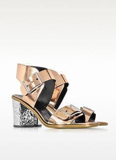 Crush - Sandales à Talons en PVC Métallisé Rose Doré  - McQ Alexander McQueen
