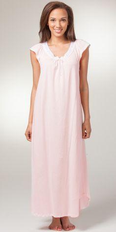 Cotton Knit Carole Hochman Cap Sleeve Long Nightgown in Gentle Pink