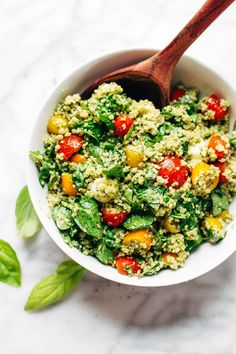 Green Goddess Quinoa Summer Salad - simple, healthy, and extremely adaptable to whatever veggies you have on hand! my family LOVES this recipe. vegetarian and can be made vegan. | pinchofyum.com