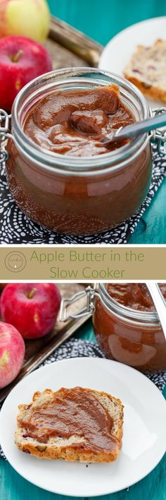 Apple Butter in the Slow Cooker   http://thecookiewriter.com   @thecookiewriter   #slowcooker   Homemade apple butter in the slow cooker is super easy and a great way to use up leftover apples! Completely vegan and gluten-free!