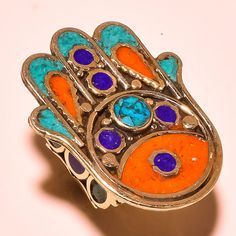 Turquoise With Red Coral & Lapis Lazuli Tibetan Silver Jewelry Ring (Adjustable) #Handmade #Cluster