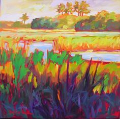 I'm mad about marshes! Square Canvas, Inspiring Art, Landscape Art, Painting Inspiration, Carrie, Art Images, Art Work, Art Projects, Art Gallery