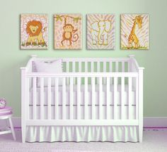 hand painted pink safari canvases by AveQcollection on Etsy Baby Room Decor, Wall Decor, Room Baby, Pink And Gray Nursery, Interior Decorating, Interior Design, Safari Animals, Little Girl Rooms, Hand Painted