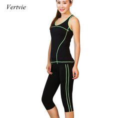Vertvie 2 개 여성 요가 세트 작물 상단 셔츠 + 스키니 레깅스 카프리 바지 스포츠 체육관 실행 의류 Fot 여성 피트니스