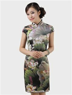 Women's Chiffon Mulberry silk Green Knee-length lotus Cheongsam Dress