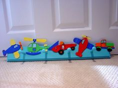 Boy room Transportation theme wall PEG HOOKS by kryshasCreations