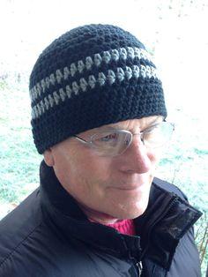 Black and Gray Beanie skullcap by just4tdyCrochet on Etsy, $22.00
