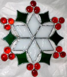 Stained glass and nugget ornament Stained Glass Ornaments, Stained Glass Christmas, Stained Glass Suncatchers, Stained Glass Flowers, Stained Glass Designs, Stained Glass Panels, Stained Glass Projects, Stained Glass Patterns, Glass Christmas Ornaments