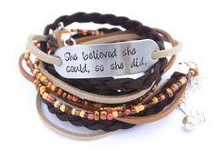 SHE BELIEVED She Could Leather Bracelet Stamped Motivational Bracelet Custom Color Beaded Boho Wrap Bracelet Braided Leather Wrap Bracelet