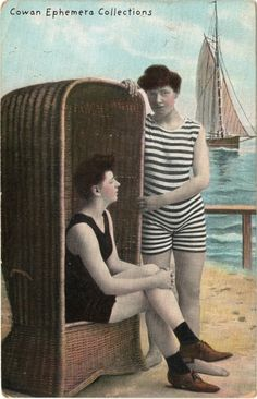 #Postcard. Two girls at the beach. 1910    Cowan Ephemera Collections. #bathers #bathing suit