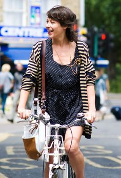 Vanessa Jackman: London Street Style...Spots 'n' Stripes on a Bike