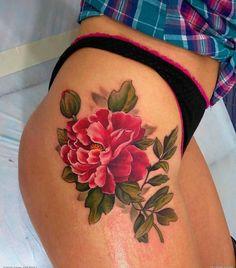Realistic Peony Tattoo On Right Hip