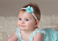 Baby Headband Newborn Headband Aqua Headband by CutieCoutureCo