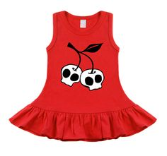 Cherry Skull Rockabilly Tattoo Red Sleeveless Dress - by My Baby Rocks - cool, punk, rocker & alternative baby onesies and toddler clothes