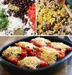 Santa Fe inspired stuffed bell peppers loaded with a zesty filling of ground turkey, corn, black beans, hot peppers and tomatoes, topped with melted cheese and scallions.  These were sooo good I heavily debated saving this recipe for the cookbook! They have just the right amount of kick, but you can certainly turn the heat up a bit more if you like.  High in protein and fiber, one serving filled me up with a side of sliced avocado and a little sour cream on top, but if you want more carbs, a…