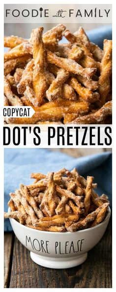 This copycat Dot s Pretzels recipe is crazy good and just like the original at a fraction of the price Savoury delicious habit-forming and oh-so-easy via foodiewithfam Yummy Appetizers, Yummy Snacks, Appetizer Recipes, Fondue Recipes, Pie Recipes, Dots Pretzel Recipe, Party Pretzels Recipe, Snack Mix Recipes, Peanut Butter