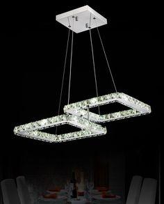2015 Modern restaurant Crystal Chandelier Fixture Square Lustre sitting room led lamps LED crystal lamp