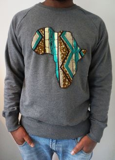 UBUNTU-WEAR, Sweater with Africa Patch made out of Waxprint.